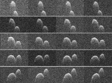 This collage of radar images of near-Earth asteroid 1999 JD6 was collected by NASA scientists on July 25, 2015. The images show the rotation of the asteroid, which made its closest approach on July 24 at 9:55 p.m. PDT (12:55 a.m. EDT on July 25) at a distance of about 4.5 million miles (7.2 million kilometers, or about 19 times the distance from Earth to the moon).