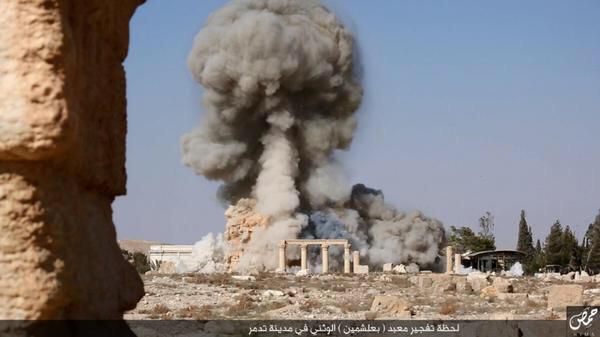 The picture released by ISIS shows destruction of Palmyra temple. @p_vanostaeyen
