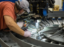 At NASA's Michoud Assembly Facility in New Orleans, engineers welded together on Sept. 5, two sections of the Orion spacecraft's primary structure that will fly on Exploration Mission-1, the first flight of Orion atop the agency's Space Launch System rocket. Credits: NASA